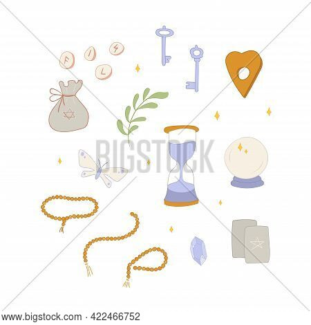 Wiccan Set With Key, Bottle, Crystal And Feather