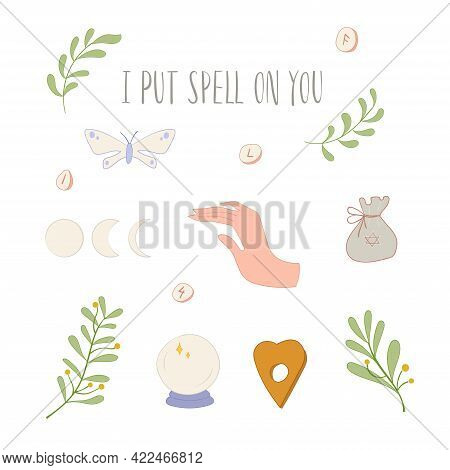 Witch Set With Hands, Herbs, Moth And Ball
