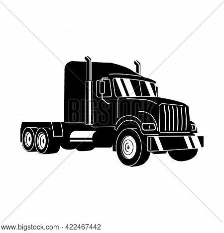 Semi Truck. Vector Outline Lorry. Freight Transportation. Modern Flat Vector Illustration