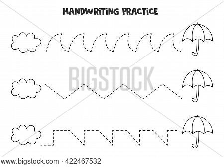 Tracing Lines For Kids With Cute Black And White Cloud And Umbrella. Handwriting Practice For Childr