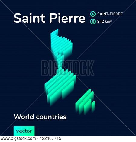 Saint Pierre Map. Stylized Isometric Neon Striped Vector 3d Map. Map Of Saint Pierre Is In Green And