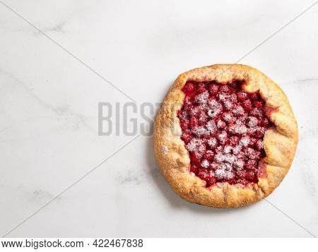 Perfect Raspberry Galette. Delicious Rustic Homemade Tart With Frozen Or Fresh Raspberries On White