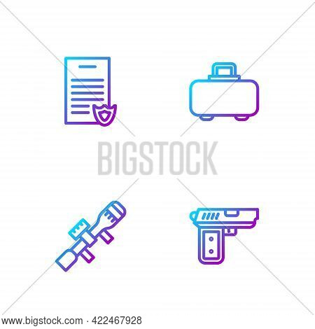 Set Line Pistol Or Gun, Sniper Optical Sight, Firearms License Certificate And Weapon Case. Gradient