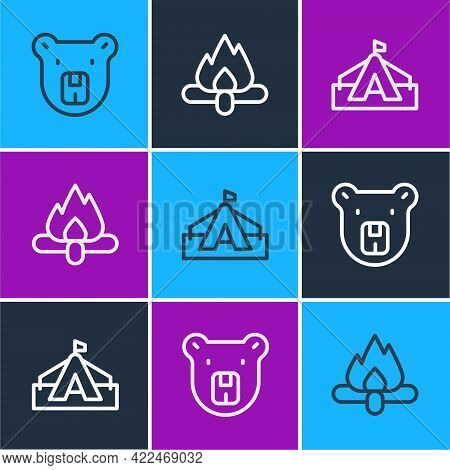 Set Line Bear Head, Tourist Tent And Campfire Icon. Vector