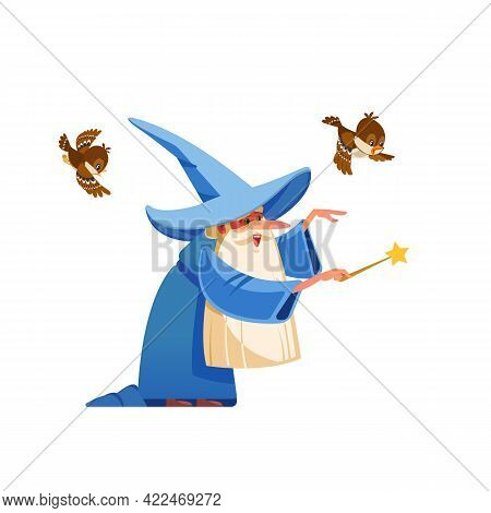 Cartoon Kind Wizard Character. Old Witch Man In Wizards Robe, Magician Warlock And Magic Medieval So