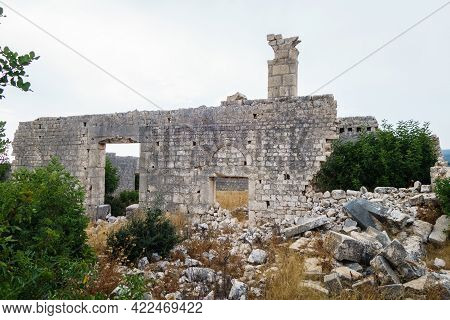 Damaged Walls & Gates Of Buildings (of Church, Probably) In Ancient City Korikos, Kızkalesi, Turkey.