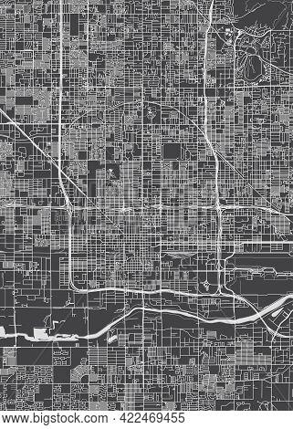 City Map Phoenix, Monochrome Detailed Plan, Vector Illustration