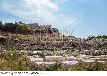 Remains Of Walls Surrounding Byzantine Palace In Ancient City Elaiussa Sebaste, Near Kızkalesi, Turk