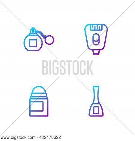 Set Line Nail Polish Bottle, Antiperspirant Deodorant Roll, Perfume And Epilator. Gradient Color Ico