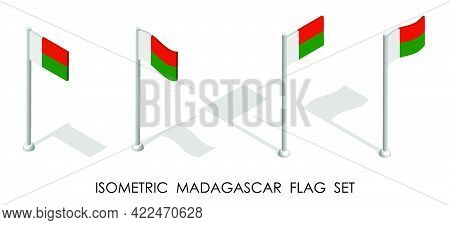 Isometric Flag Of Madagascar In Static Position And In Motion On Flagpole. 3d Vector