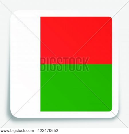 Madagascar Flag Icon On Paper Square Sticker With Shadow. Button For Mobile Application Or Web. Vect