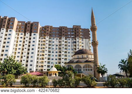 Building Of Mosque & Its Minaret In City Ayaş, Turkey. Brown & Light Colours Of Mosque Are Same As C