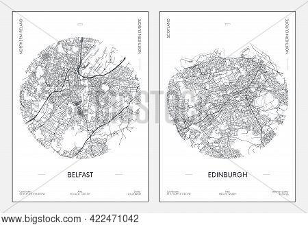 Travel Poster, Urban Street Plan City Map Belfast And Edinburgh, Vector Illustration