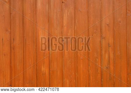The Surface Is Made Of Wooden Boards With Knots, Painted In Orange With A Highlighted Texture. Backg