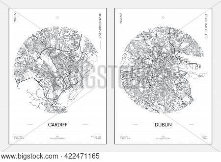 Travel Poster, Urban Street Plan City Map Cardiff And Dublin, Vector Illustration