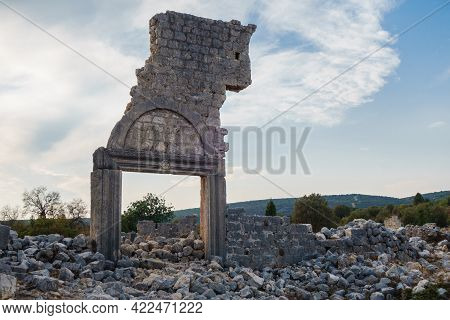 Ruins Of Church Gates In Ancient City Canytelis Or Kanlıdivane, Ayaş, Turkey. There Are Remains Of P