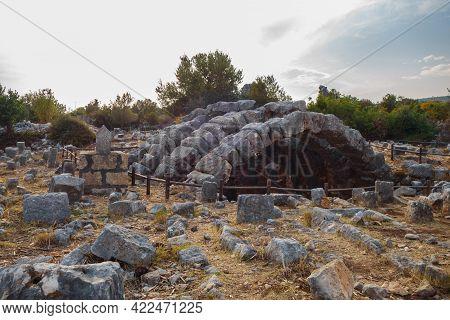 Underground Stone Building (probably Crypt) In Ancient City Kanli Divane Or Canytelis, Ayaş, Turkey.