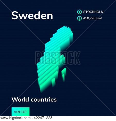 Stylized Striped Vector Isometric Neon Map Of Sweden With 3d Effect. Map Of Sweden Is In Green And M