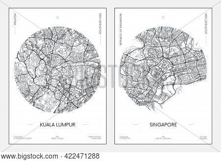 Travel Poster, Urban Street Plan City Map Kuala Lumpur And Singapore, Vector Illustration