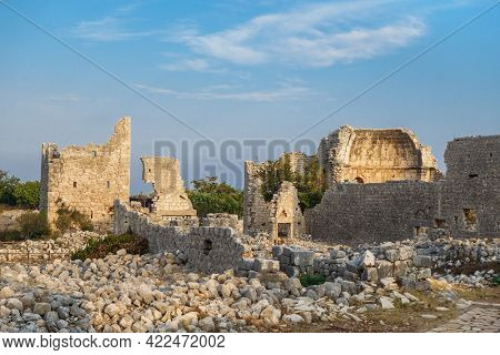 Remains Of Roman Churches Lighted By Sunlight In Ancient City Kanli Divane Or Canytelis, Ayaş, Turke
