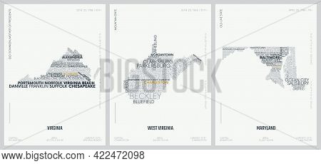 Typography Composition Of City Names, Silhouettes Maps Of The States Of America, Vector Detailed Pos
