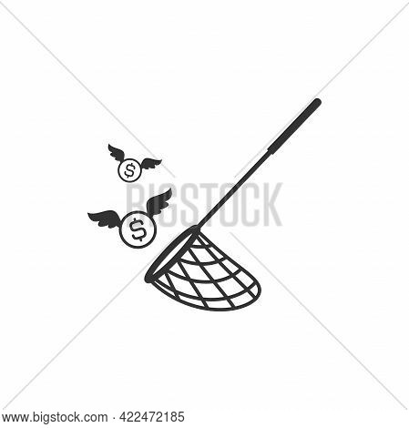 Butterfly, Pool Or Fish Net And Dollar Coin With Wings. Catch, Hunt, Chase Money Symbol. Achieve Goa