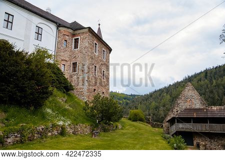 Gothic Medieval Castle Velhartice In Sunny Day, Tower At The Hill Near Forest, Fortress Masonry Wall
