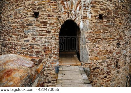 Gothic Medieval Castle Velhartice In Sunny Day, Tower And Stone Arch Bridge, Fortress Masonry Wall,