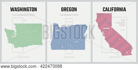 Vector Posters Detailed Silhouettes Maps Of The States Of America With Abstract Linear Pattern, Divi