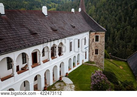 Gothic Medieval Castle Velhartice, Sunny Day, White Mansion, Facade With Arches, Masonry Wall, Old S