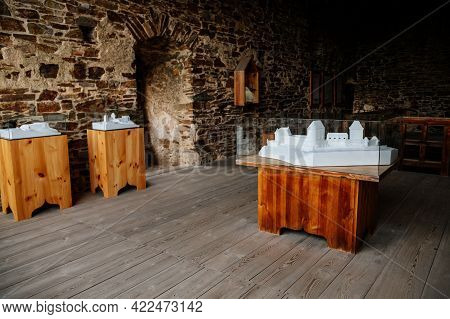 The Interiors Of Gothic Medieval Castle Tower, Wooden White Castle Mockup, Fortress Masonry Wall, Ol