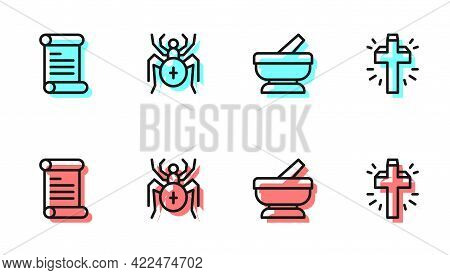 Set Line Mortar And Pestle, Decree, Parchment, Scroll, Spider And Christian Cross Icon. Vector