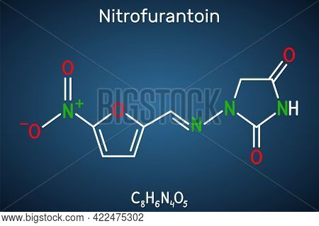 Nitrofurantoin Molecule. It Is Nitrofuran Antibiotic Used To Treat Urinary Tract Infections. Structu
