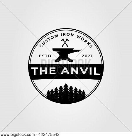 Blacksmith Anvil And Hammer Logo Vector Illustration Design