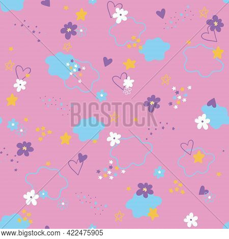 Cute Vector Pattern For Girls, With Clouds, Flowers And Hearts On A Pink Background. Cute Seamless P