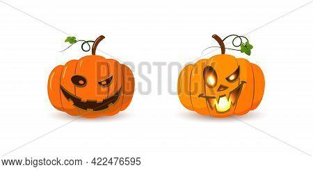 Halloween Pumpkin Icon Set. Autumn Symbol. 3d Design. Halloween Scary Pumpkin Face, Smile, Candle Li
