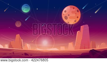 Space And Planet Landscape Background. Planets Surface With Craters, Stars And Comets In Dark Space.