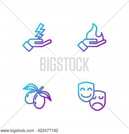 Set Line Comedy And Tragedy Masks, Olives Branch, Zeus And Hand Holding Fire. Gradient Color Icons.