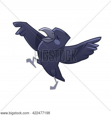 Happy Crow Dancing And Singing. Cartoon Vector Illustration Isolated On White Background