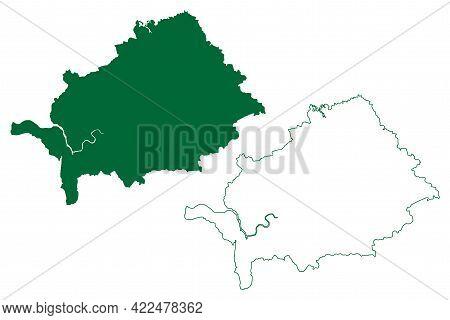 Thane District (maharashtra State, Konkan Division, Republic Of India) Map Vector Illustration, Scri