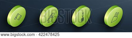 Set Isometric Line Packet Of Pepper, Cooking Pot, Barbecue Spatula And Knife Icon. Vector