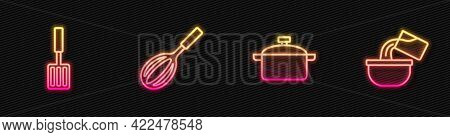 Set Line Cooking Pot, Barbecue Spatula, Kitchen Whisk And Saucepan. Glowing Neon Icon. Vector