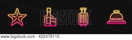 Set Line Suitcase, Starfish, Whiskey Bottle And Glass And Hotel Service Bell. Glowing Neon Icon. Vec