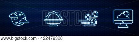 Set Line Windy Weather, Earth Planet With Clouds, Sunrise And Weather Forecast. Glowing Neon Icon On