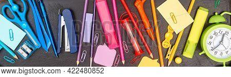 Banner Back To School, Multicolored School Supplies, Rainbow On Black School Board, Flatlay