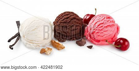Assorted Of Ice Cream Scoops On White Background. Chocolate Ice Cream And Cherry Ice Cream Isolated