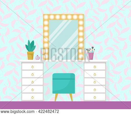 Flat Vector Illustration With Make Up Vanity Table, Mint Poof, Gold Mirror With Lights