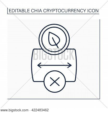 Cryptocurrency Line Icon. Chia Causes Storage Shortage. Hard Drive And Ssd Shortages.low Free Storag