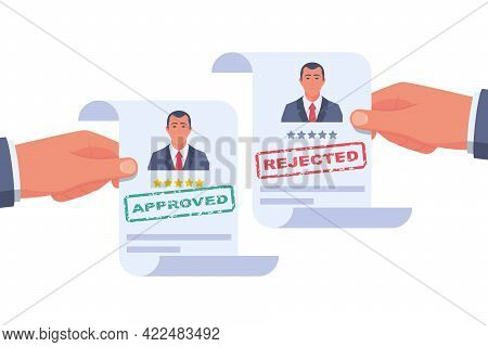 Participation. Approved Resume. Reject Resume. Stamp In The Hands Of A Headhunter. Approved Employme