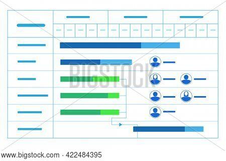 Illustration of gantt chart in project management concept